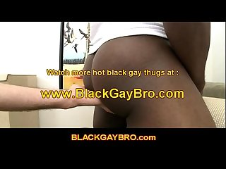 Gay black bro gags on white guys dick in great gay scene