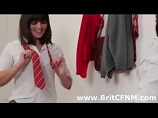 Pair of naughty British CFNM girls strip a guy at gym
