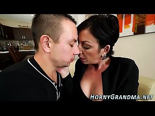 Inked granny jizz mouthed