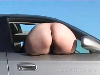 Big white booty mooning out the window