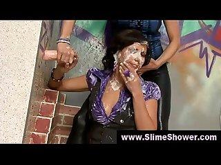 Messy gloryhole classy girls blowjob