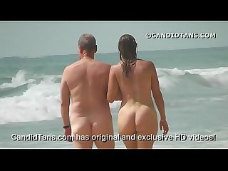 Sexy Milf Mom with a big ass walking naked on public beach excl
