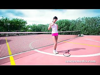 Perfect tiny teen bitch on tennis court playing her tight twat & wet pussy lips