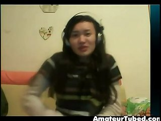 Chinese girl plays on cam