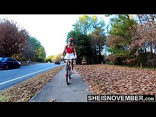 Public Nudity Bicycle Riding Babe Under Upskirt Booty, Tiny Msnovember Ebony Butt Reality 4k..
