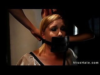 Restrained blonde Sasha Knox gets great ass flogged by Mistress Missogyny