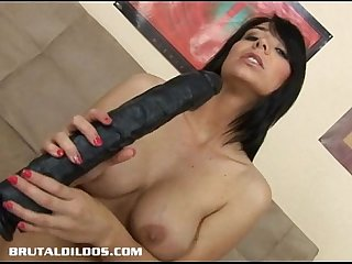 Brunette babe beverly riding a brutal anal dildo