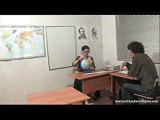 Russian mature teacher 5 irina geography lesson