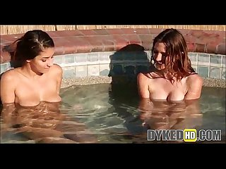Two Teen Girls Dyke Out In A Hot Tub - DYKEDhd.com