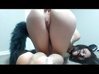 Wow! Super sexy cat-girl plays with holes on webcam - web8cam.com