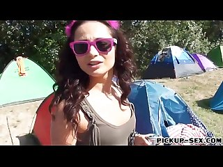 Eurobabe aurelly rebel gets her pussy pounded in the woods