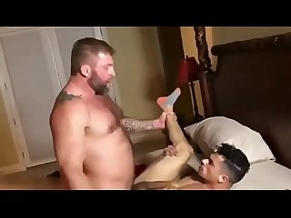 Muscle Dad and Son's Bareback Fuck