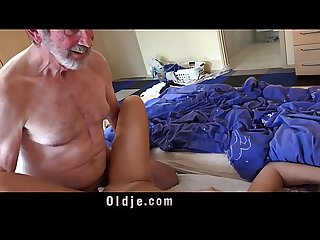 Teen sweet sex playful incredible grandpa gives