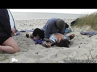 Slutwife fucked and creampied by strangers on the beach
