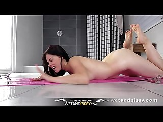 Wetandpissy naughty Ella Martin enjoys piss in mouth and toy play