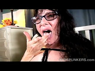Tasty old spunker Tammy enjoys a sticky facial cumshot
