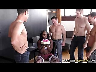 Ebony Osa Lovely gets gangbanged on her birthday