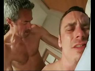 Hot dad and son fucking at bed