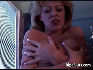 Busty blonde milf let dude play with her