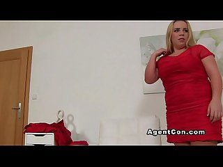 Blonde amateur bbw banged on casting