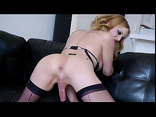 Tranny in sexy lingerie jerking off indoor