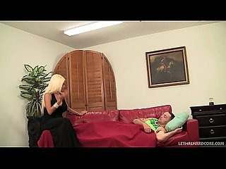 Big tit milf Nikita von james fucks her sons friend on couch