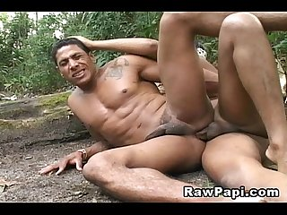 Latino men in bareback anal sex
