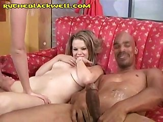 Blonde duo cleans black jizz