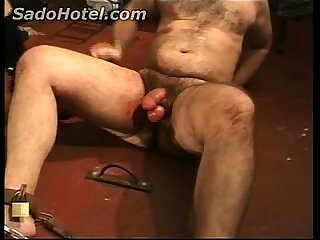 Mistress with big tits hits and kick dirty slave in his balls