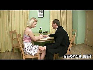 Lustful man kisses girl S tits