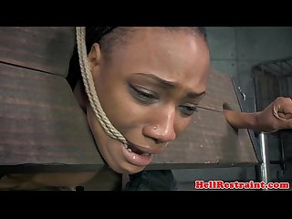 Bound black sub in yoke toyed as punishment