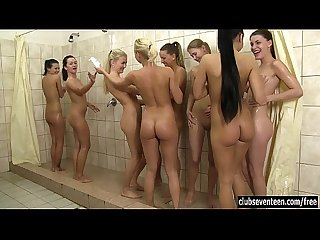 8 hot teens taking a shower