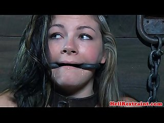 Young bdsm babe restrained by an old maledom