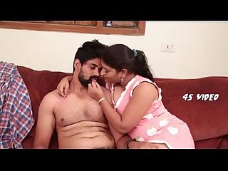 Indian couple romance boobs pressing in bedroom