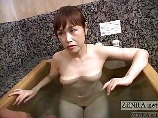 Pale Japanese wife secret AV bathing soapy handjob Subtitled