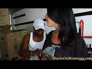 Busty milf housewife fucks black movers