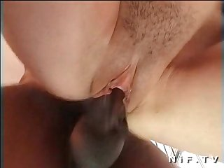 French brunette getting a black dick in her hairy pissy