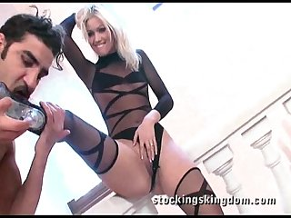 Blonde in nylon and hard cock