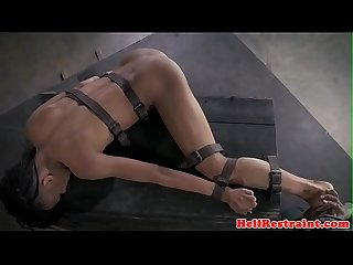 Black bdsm sub gagging on maledom before anal