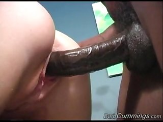 Teen blonde get creampie by two black man