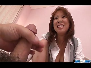 Asuka blows it hard before enjoying it in her cherry
