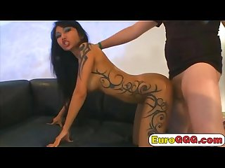 Amazing tattooed Asian girl gets banged in threesome