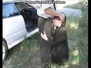Redhead fucked in the mouth on the side