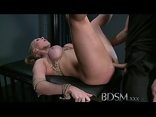Bdsm Xxx blonde sub gets tied up and has her holes filled by masters fingers cock and hook