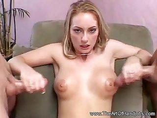 Classy blonde double handjob