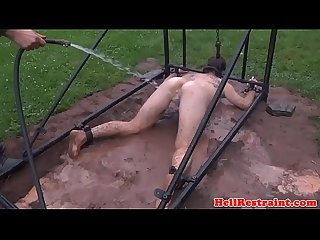 Anal hooked and breast bonded sub toyed outdoors
