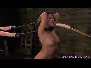 Bound slave strapon fuck