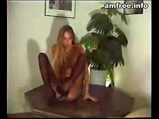 Leggy blonde dancing for the camera