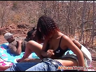Amateur African Chicks Outdoor Sucking Schlongs