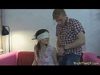 Blindfolded babe tricked and fucked